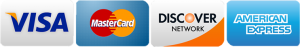 We accept Visa, MasterCard, Discover and American Express.